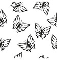 butterflies silhouettes seamless texture vector image