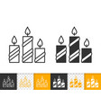 candle flame simple fire black line icon vector image vector image