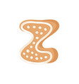 cartoon ginger bread cookie letter z hand drawn vector image