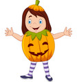 cartoon kid with halloween pumpkin costume vector image vector image