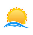 cartoon sun over sea waves vector image