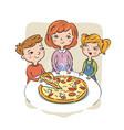 children eat pizza vector image vector image