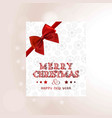 christmas card with snow flakes pattern and red vector image