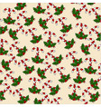 christmas pattern of candy and mistletoe on a vector image
