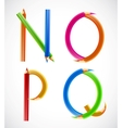 Colorful alphabet of pencils N O P Q vector image vector image