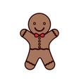 cookie Christmas with red bow in neck vector image