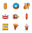 different fast food icons set flat style vector image vector image