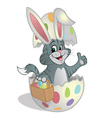 easter kitten basket eggs vector image vector image