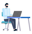 employee working with laptop creative idea vector image vector image