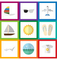 flat icon season set of spectacles aircraft vector image vector image