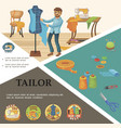 flat tailoring elements concept vector image vector image