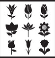 flower icon side view set vector image vector image