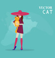 girl and cat flat style vector image vector image