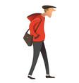 gloomy man walking profile male character vector image