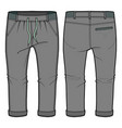 grey joggers with elasticized ribbing vector image vector image