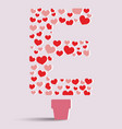Heart tree and letter E vector image