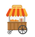 hot dog street shop cart icon flat cartoon vector image vector image