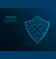 insecure low poly shield and cross icon on blue vector image vector image