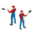 isometric farmer in working clothes with a shovel vector image