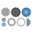 mandala collection in black and blue colors vector image vector image