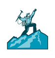 Mountain Climber Summit Retro vector image vector image