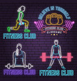 neon fitness club sign on brick wall background vector image