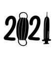 numbers 2021 with symbols coronavirus vector image vector image