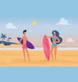 people surfers enjoy tropical nature sea landscape vector image vector image