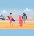 people surfers enjoy tropical nature sea landscape vector image