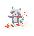raccoon flying on a party popper cute cartoon vector image