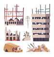 ruined abandoned houses and car set old buildings vector image vector image