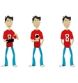 Set of cartoon guy with mobile app and laptop vector image