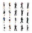 set of isometric businessmen isolated vector image