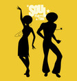 silhouettes of couple dancing soul funky or disco vector image vector image