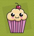 sweet cupcake kawaii character vector image