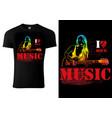 t-shirt design with guitarist girl