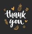 thank you handwritten lettering vector image