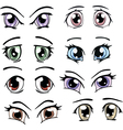The complete set of the drawn eyes vector image