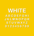 the original alphabet white letters on yellow vector image vector image