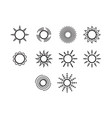 thin line sun icon set vector image vector image