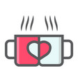 two pair mug filled outline icon valentines day vector image vector image