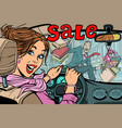 woman driver goes to the sale knocks down a man vector image vector image