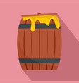 wood honey barrel icon flat style vector image vector image