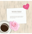 Romantic vintage banner heart rose and coffee vector image