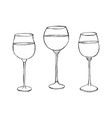 a set drawings glass on white background vector image