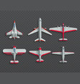 airplanes and military aircraft top view 3d vector image vector image