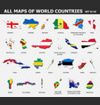 all maps world countries and flags set 9 of vector image
