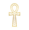 ankh cross with flower life pattern gold vector image vector image