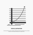 arrow chart curve experience goal icon glyph gray vector image