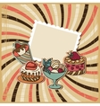 background with of cake in retro style Vintage vector image